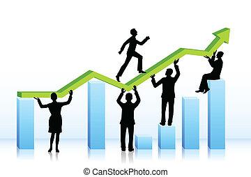 グラフ, 歩くこと, バー, ビジネス 人々