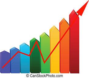 グラフ, 矢, ビジネス