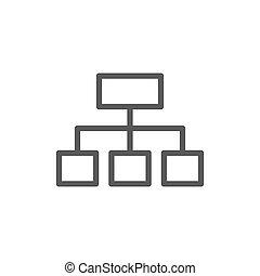 グラフ, 隔離された, 階層的, icon., 背景, 白いライン, 構造