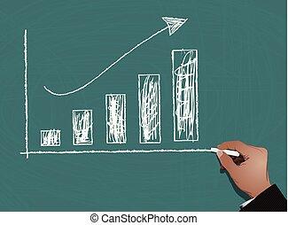 グラフ, 黒板, ビジネス 財政