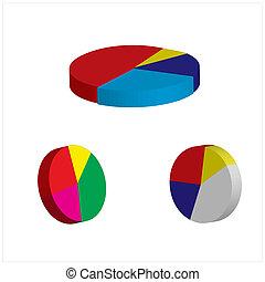 グラフ, 3d, チャート, パイ