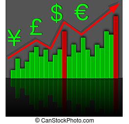 グラフ, income., 成長, 財政, vector.
