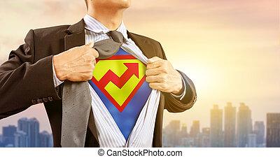 グラフ, superhero, 衣装, 上昇, ビジネスマン