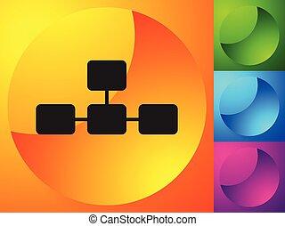 グラフ, topological, 図, チャート, 階層的, multilevel, アイコン