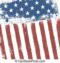 グランジ, アメリカ人, バックグラウンド。, 旗, ベクトル, eps10