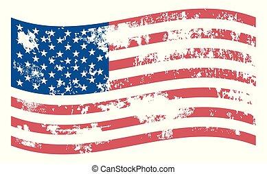 グランジ, アメリカ人, 揺れている旗, ベクトル, アイコン