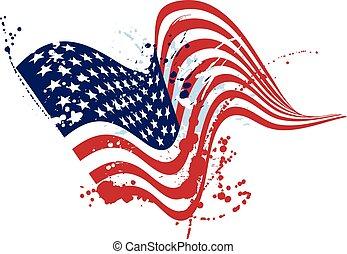 グランジ, アメリカ, 白, 旗, 隔離された, アメリカ人, デザイン, textured