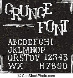 グランジ, アルファベット, 手紙, そして, numbers., ベクトル