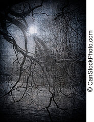 グランジ, イメージ, の, 暗い, 森林, 完全, ハロウィーン, 背景