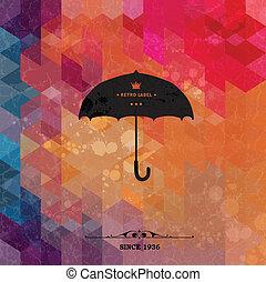 グランジ, カラフルである, paper., レトロ, 背景, 傘, 幾何学的