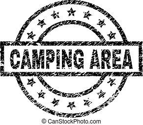 グランジ, キャンプ, 区域, 切手, textured, シール