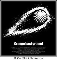 グランジ, ゴルフ, 背景, 黒