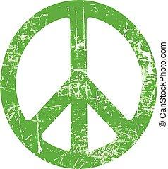 グランジ, シンボル, 平和, 隔離された, イラスト, 印, バックグラウンド。, ベクトル, 緑の白, 楕円