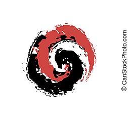 グランジ, シンボル, 要素, バランス, ベクトル, デザイン, 調和, ying yang