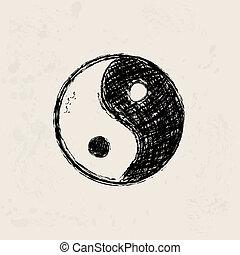 グランジ, シンボル, yin, 手, yang, 芸術的, 背景, 引かれる