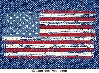 グランジ, ジーンズ, アメリカ人, バックグラウンド。, 旗, ベクトル