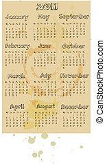 グランジ, スタイル, 2011, カレンダー