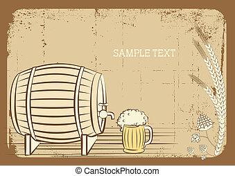 グランジ, テキスト, 背景, ガラス。, ベクトル, ビール, 小樽