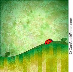 グランジ, テントウムシ, イラスト, 緑の背景, 赤