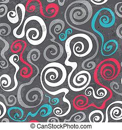 グランジ, パターン, 抽象的, seamless, らせん状に動く, 曲がった