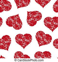 グランジ, パターン,  seamless, イラスト, ベクトル, 心, 赤