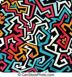 グランジ, パターン, seamless, カーブ, 効果, 落書き