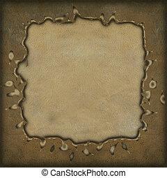 グランジ, フレーム, 背景, textured, 羊皮紙
