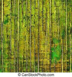 グランジ, ブラウン, バックグラウンド。, パターン, 黄色, 緑, textured, 古い