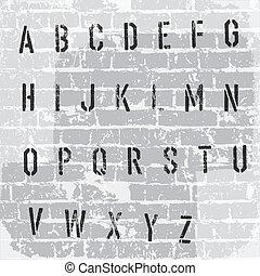 グランジ, ベクトル, 型板, alphabet., eps10