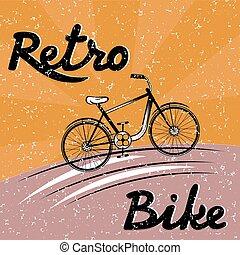 グランジ, ベクトル, 自転車, レトロ, イラスト