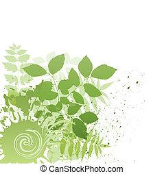 グランジ, ベクトル, 葉, 自然