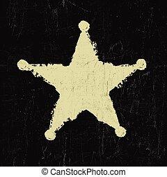 グランジ, ベクトル, star., 保安官
