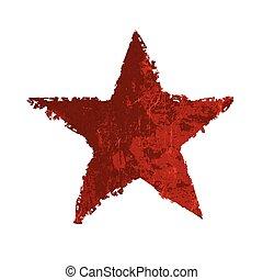 グランジ, ベクトル, star., 赤