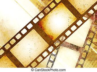 グランジ, ペーパー, filmstrips, 背景, レトロ, 手ざわり