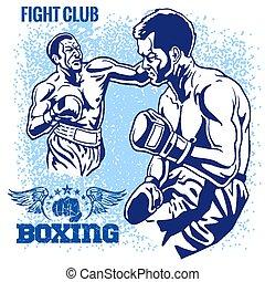 グランジ, ボクシング, レトロ, イラスト, 背景, -, マッチ