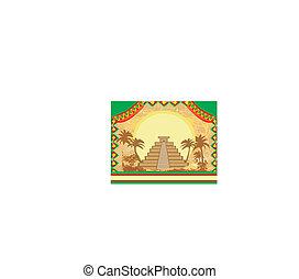 グランジ, メキシコ\, ピラミッド, 抽象的, mayan, -, chichen - itza, 背景