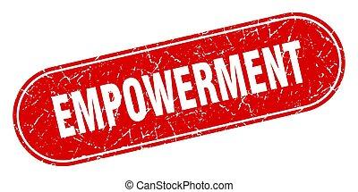 グランジ, ラベル, 印。, 赤, stamp., empowerment