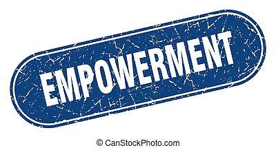 グランジ, ラベル, 青, 印。, stamp., empowerment