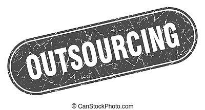 グランジ, ラベル, 黒, outsourcing, 印。, stamp.