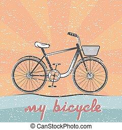 グランジ, レトロ, ベクトル, イラスト, の, 自転車