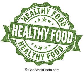 グランジ, 健康, 隔離された, 食物, 緑の背景, シール, 白