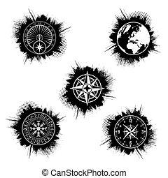 グランジ, 円, セット, シンボル