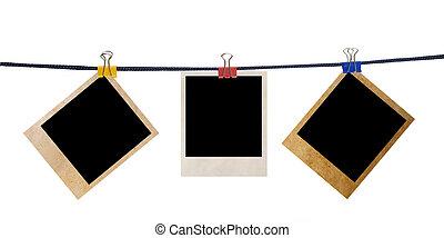 グランジ, 写真フレーム, 上に, a, ロープ