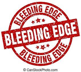 グランジ, 出血, 切手, 端, ラウンド, 赤