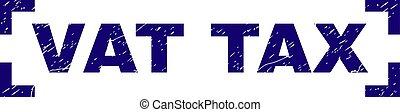 グランジ, 切手, コーナー, 中, シール, 税, textured, 大桶