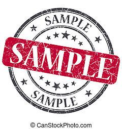 グランジ, 切手, サンプル, 背景, 白, ラウンド, 赤