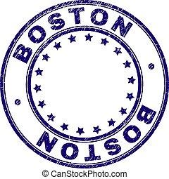 グランジ, 切手, ボストン, textured, シール, ラウンド
