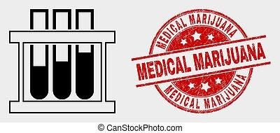 グランジ, 切手, 医学, マリファナ, 化学物質, ベクトル, シール, 試験管, アイコン
