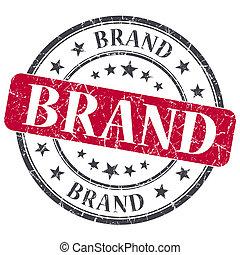 グランジ, 切手, 型, ブランド, 隔離された, textured, 赤