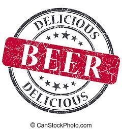 グランジ, 切手, 型, 隔離された, ビール, textured, 赤